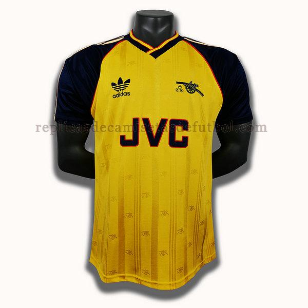 segunda player camisetas de futbol arsenal 1988 1990 amarillo